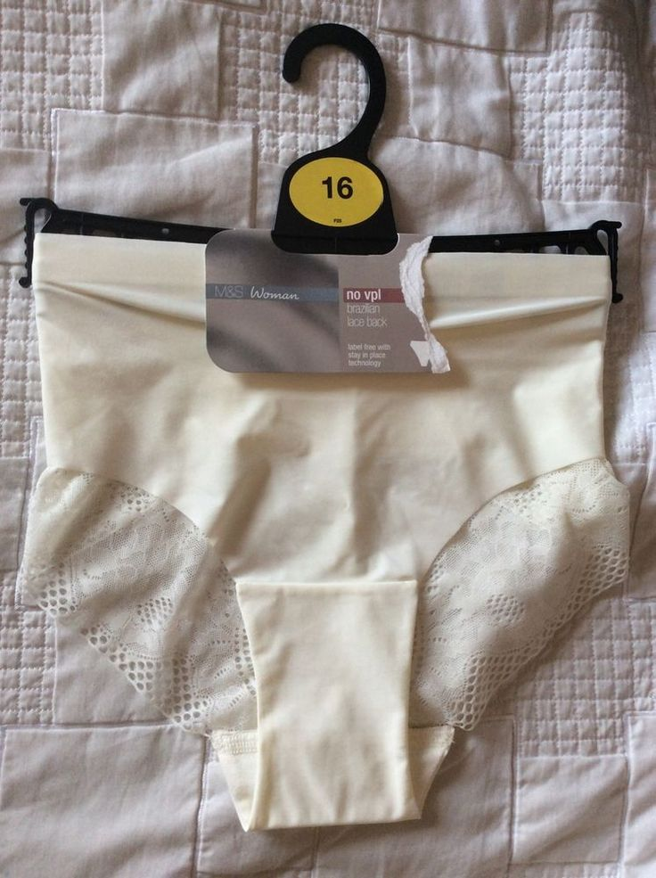 M&S Woman no VPL BRAZILIAN LACE Back StayinPlace UK16 L BNWT RRP£6 L Cream