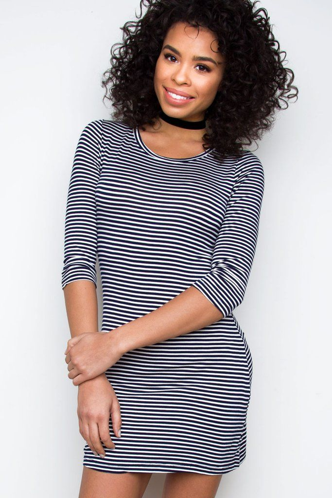 """Details Size Guide Model Stats Contact     Don't over think it, just do it! This Daria Striped Dress in navy features a lightweight, knitfabric with stretch. Scoop neck front, and three-quarter-length sleeves.Mini dress styling. Unlined, finished hem.*Rayon/Spandex blend*32"""" Bust; 28"""" Waist; 30.5"""" Length*Model is wearing size small*Hand wash cold; lay flat to dry*Imported      Size  US  Size  US   XXS 0  L 8   P/XS 2  XL 10   S 4  XXL 12   M 6        Click Her..."""