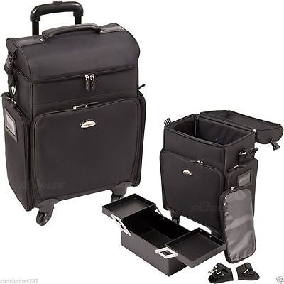 Salon Trolley Bag On Wheels Rolling Black Supply Makeup Hairstylist Case Laptop