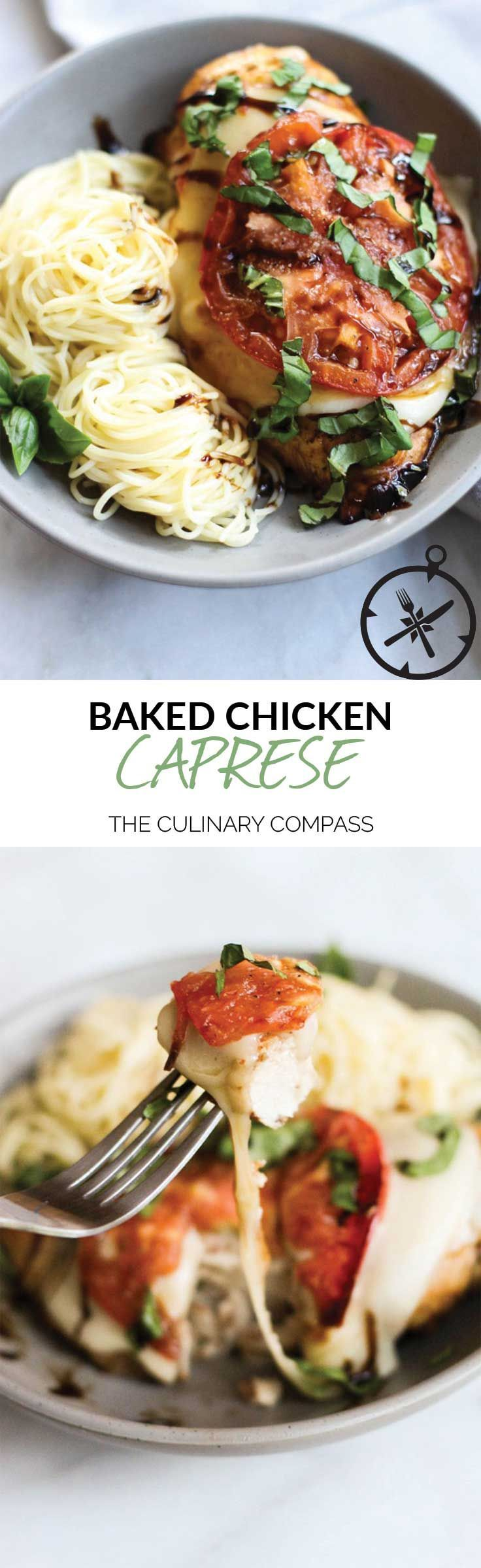 This Baked Chicken Caprese is full of bright summery flavors and is so easy to throw together! via /culinarycompass/