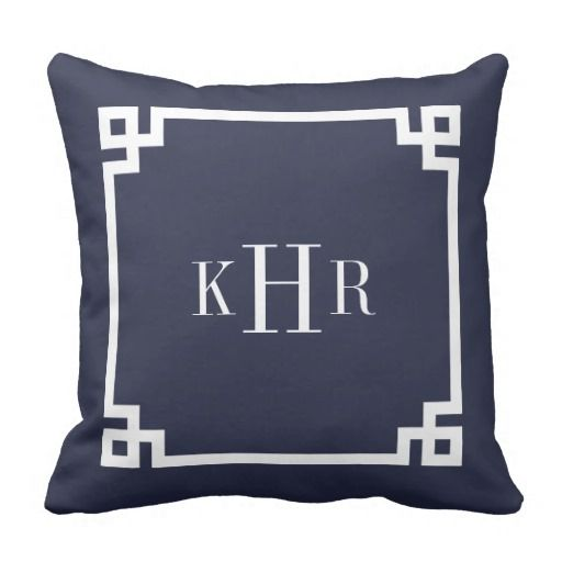 Navy Blue Greek Key Border Custom Monogram