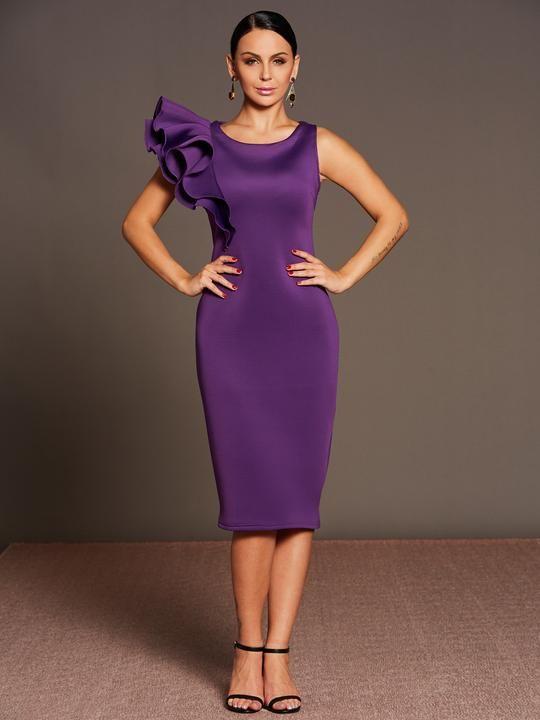 63b8603285 Purple Falbala Women's Bodycon Dress in 2019 | Party Dress Feast | Short  cocktail dress, Dresses, Ruffle sleeve dress