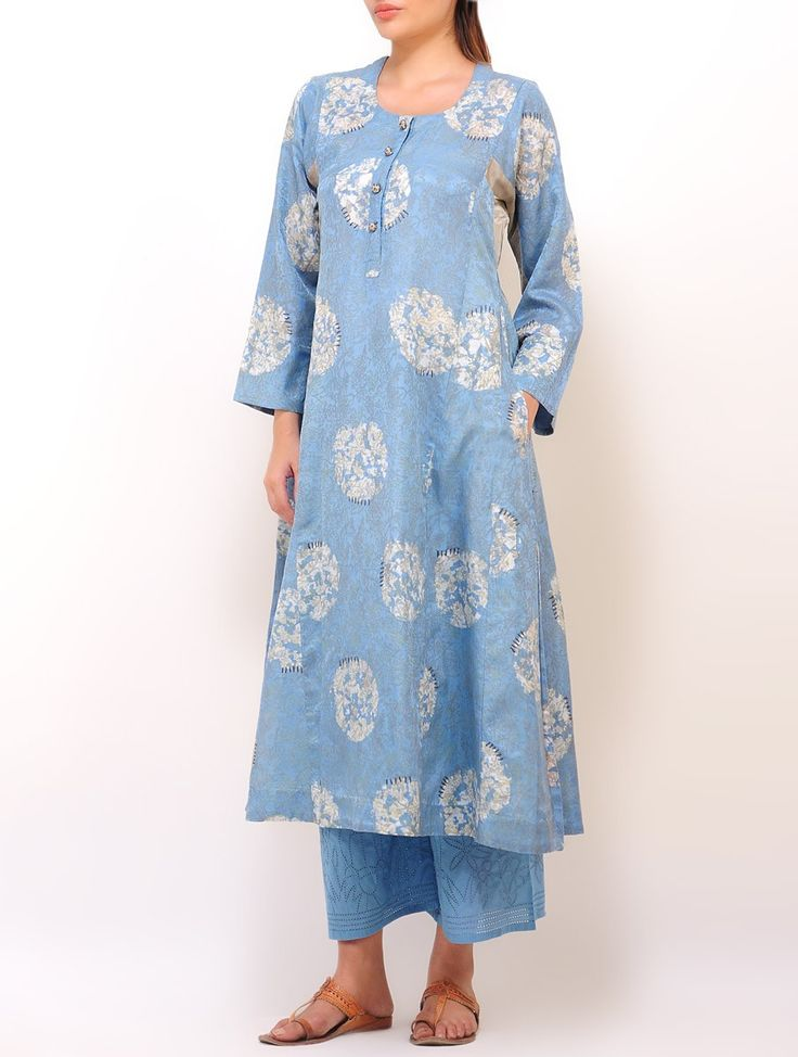 Buy Blue Grey Batik Floral Printed Panelled Kurta Silk Cotton Satin Apparel Tunics & Kurtas A Voyage Within Nature Inspired Stoles and Jewelry Online at Jaypore.com