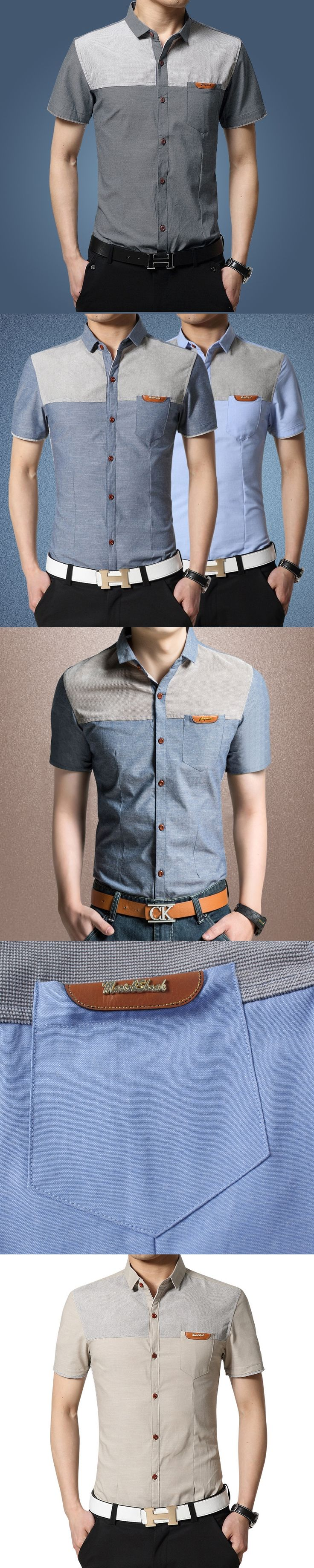 Short sleeved shirt men's fashion casual Summer Youth slim coat gown half sleeve shirt