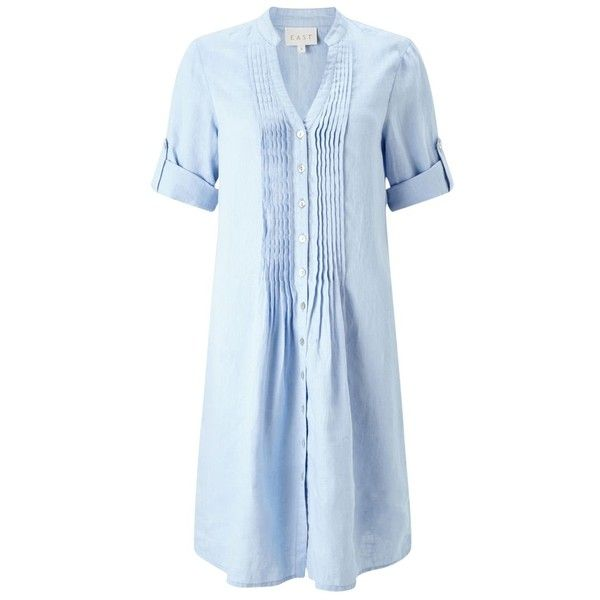 East Pintuck Linen Dress , Sky ($70) ❤ liked on Polyvore featuring dresses, sky, 3/4 sleeve dress, maxi dresses, midi shirt dress, sleeved maxi dress and tight maxi dress