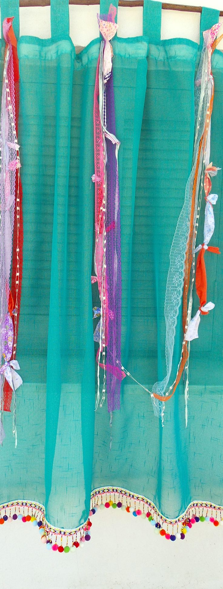 How to make tab top curtains - Boho Tab Top Curtain Gypsy Bohemian Curtain Sheer Hippie Door Curtains