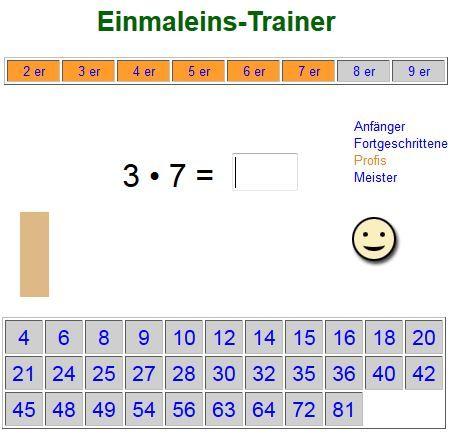 Man kann einzelne oder mehrere Reihen üben und die Ergebnisse aus angezeigten Zahlen anklicken oder ganz ohne Vorgabe selbst schreiben