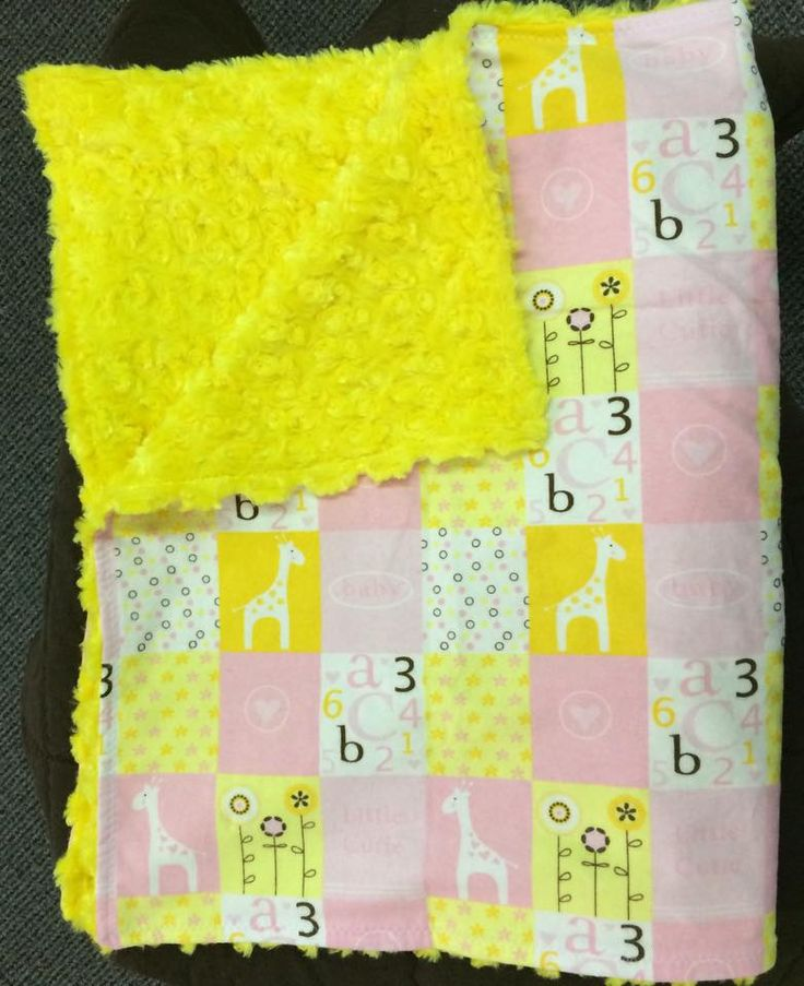 baby pink and yellow squares with yellow rose. small blanket for travel or in the stroller.