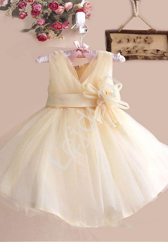 145ca8bea7 Sukienka dla dziewczynki złoto beżowa z kwiatkiem w pasie. Sukienki tiulowe  dla dziewczynek na wesele