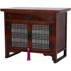 @Overstock - Handcrafted Japanese-style end table made from elm wood  Living room furniture features a rich brown lacquer finishAttractive rice paper mounted behind lattice work doorshttp://www.overstock.com/Worldstock-Fair-Trade/Lattice-End-Table-China/3072463/product.html?CID=214117 $346.99