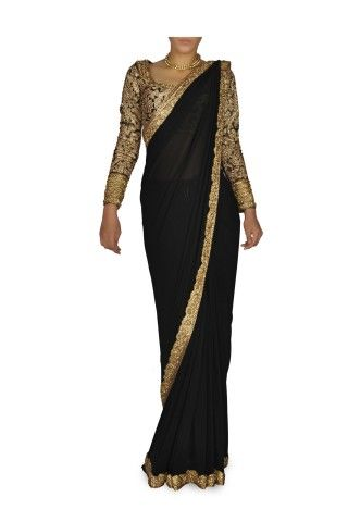 black and gold sari with long sleeve blouse - i need to get a black sari on my next trip!