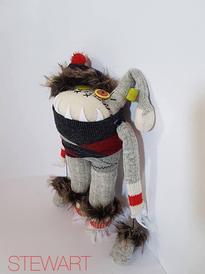 """"""" Sqwaggle """" Sock Monster $40 brightgreentangerine ETSY"""
