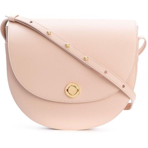 Mansur Gavriel saddle bag (£815) ❤ liked on Polyvore featuring bags, handbags, shoulder bags, pink, pink shoulder bag, leather purses, pink purse, nude handbags and genuine leather handbags