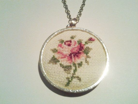 Rose cross stitch necklace