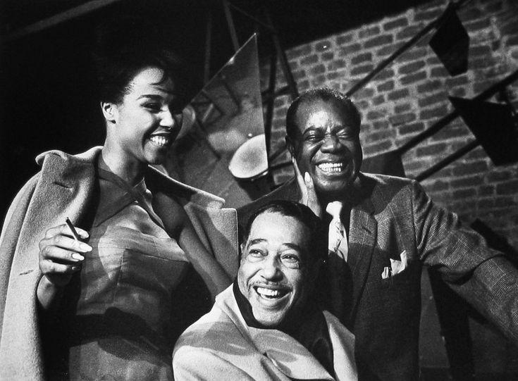 Herman Leonard, Duke Ellington, Louis Armstrong, Diahann Carroll, Paris, 1960