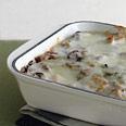 Cheesy Polenta Lasagne with Mushrooms and Seitan Recipe at Epicurious.com