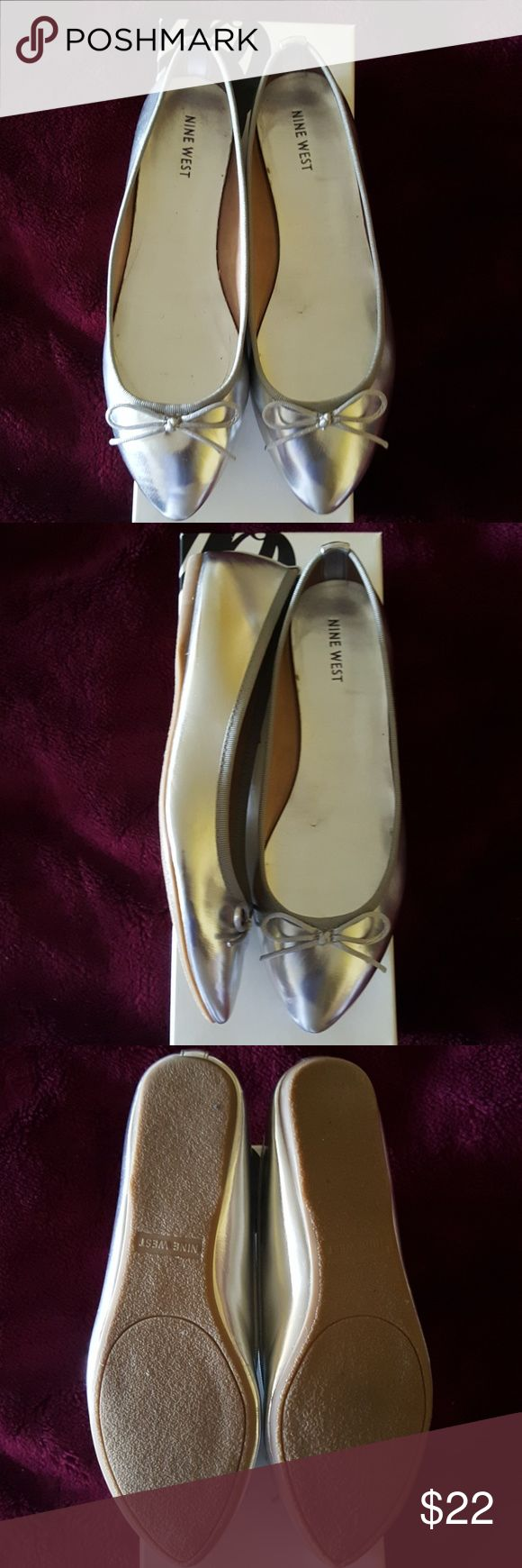 NINE WEST SILVER Ballet Flats Shoes size 7.5 Silver Ballet Shoes Flats size 7.5. Only worn a few times. In excellent condition. Original box included. Nine West Shoes Flats & Loafers