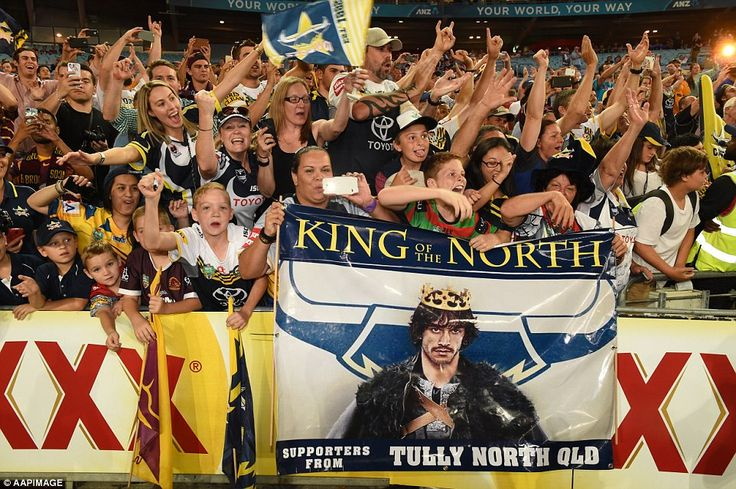 Cowboys fans channel inspiration from television show Game of Thrones for their Johnathan Thurston 'King of the North' banner