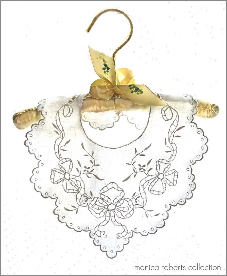 antique cutwork baby bib (bavoir de bébé) and padded silk hanger