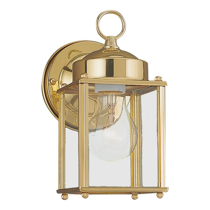 24 best outdoor lighting images on pinterest outdoor walls the sea gull lighting new castle outdoor polished brass wall fixture is highlighted with four clear glass panels it accommodates an a line medium light mozeypictures Image collections