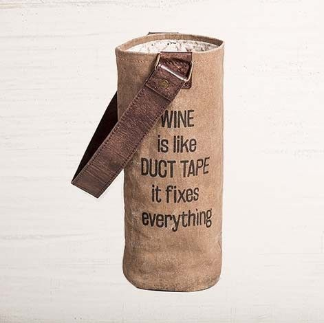 Made as a conversation starter with clever sayings, the Wine Is Like Duct Tape reclaim canvas wine bag also makes a great gift! Each canvas wine bag is created from Up-cycled truck tarps and military