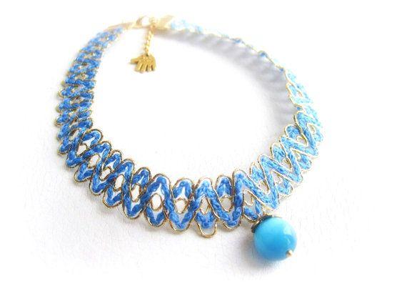 Rope braided choker necklace fabric choker by MalinaCapricciosa