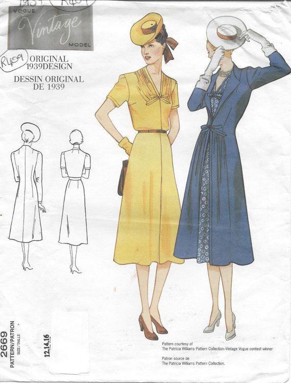 "1939 vintage VOGUE naaien patroon jurk-jas B34 ""-36""-38""(R409) Vogue 2669"