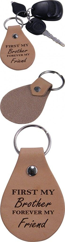First My Brother Forever My Friend Leather Key Chain - Great Gift for Birthday, or Christmas Gift for Brother, Brothers