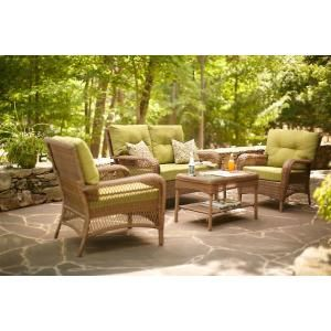Martha Stewart Living Charlottetown Brown 4 Piece All Weather Wicker Patio  Seating Set With Green Cushions