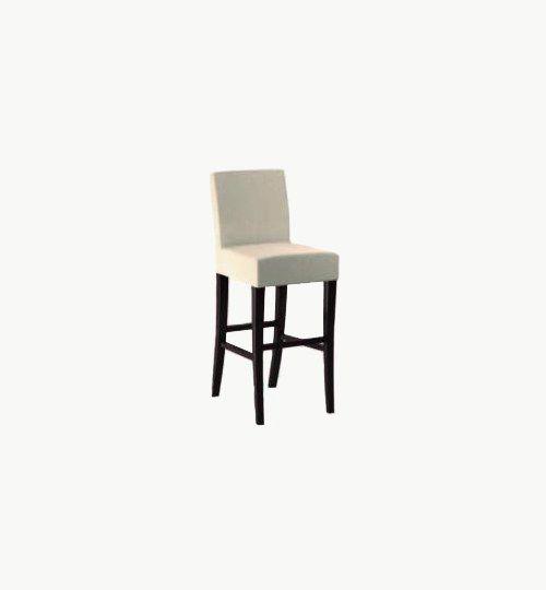 Barstol med klädd sits och ryggparti, många tyger och träfärger att välja på. Ingår i en serie med vanlig stol samt fåtölj. Barstolen är tillverkad i trä med bets samt med ett sittskal som är stoppat/klätt. Stolen väger 7,7 kg, vilket är en normal vikt för  Tyg Lido 100 % polyester, brandklassad. Tyg Luxury, 100 % polyester, brandklassad. Konstläder Pisa, brandklassad, 88,5% PVC, 11,5% polyester.