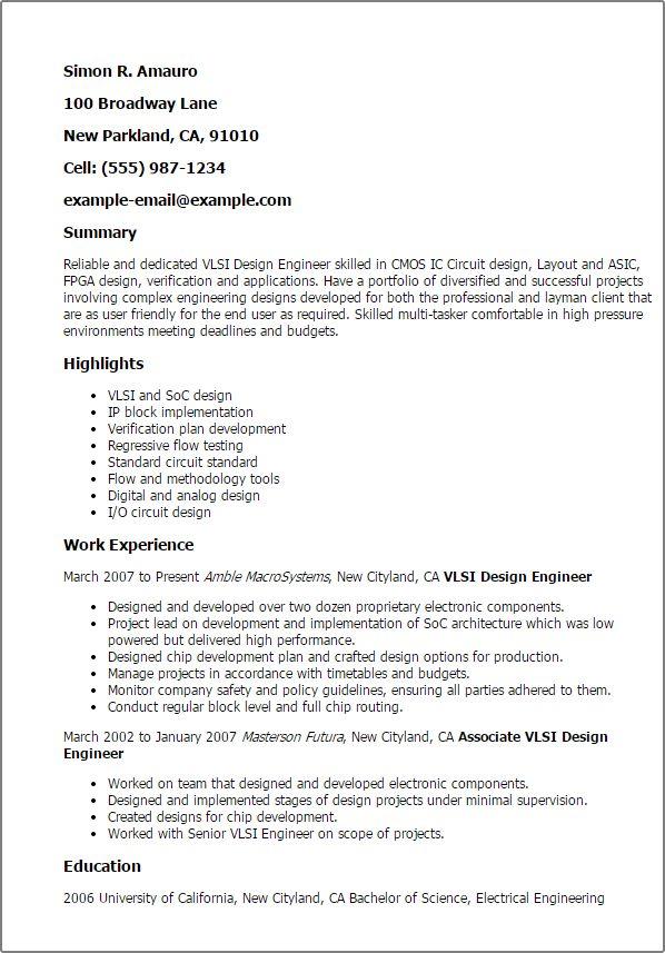 Resume Format Vlsi Design Engineer Design Engineer Format Resume Resumeformat Sample Resume Resume Engineering Design