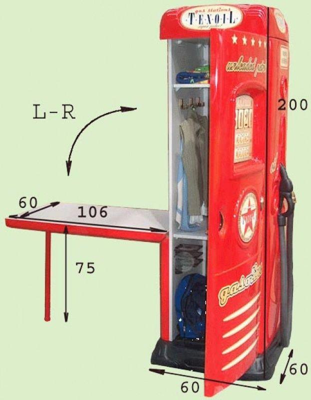 Produkt Detailinformationen: Einzigartiger Kinderzimmer-Schrank mit klappbarem Schreibtisch in der Form einer Zapfsäule. - Kleiderschrank:  L/B/T: 200 x 60 x 60 cm -... #kinder #kinderzimmer #kleiderschrank