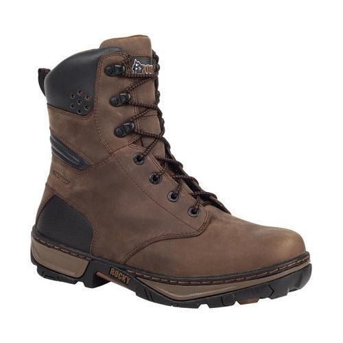Men's Rocky 8in Forge Waterproof Insulated Work Boot RK061 Darkwood Full Grain