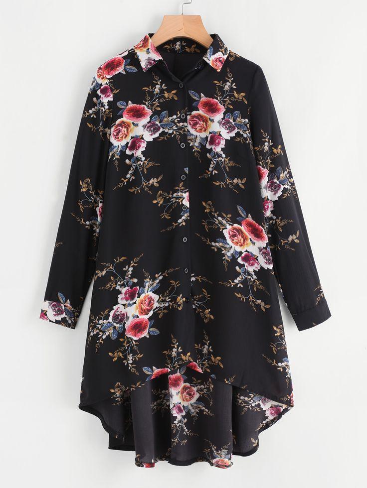 Shop Flower Print High Low Shirt online. SheIn offers Flower Print High Low Shirt & more to fit your fashionable needs.
