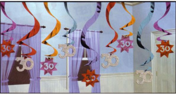 A679054 - Decoration Hanging Swirls - 30th Birthday - Pack of 15 Decoration Hanging Swirl 30 The Party Continues - Foil Prismatic Finish (60cm) - Pack of 15 Please note: approx. 14 day delivery