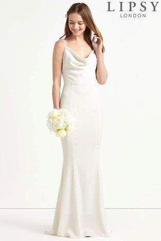 Cowl Neck Satin Wedding Dresses
