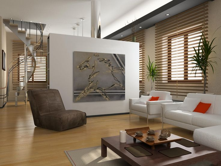 Breathtaking Canvas Painting Ideas With White Modern Sofa And Wooden Table Brown Chair Design