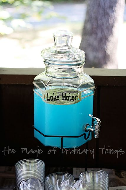 """Lake Water"" Punch: 1/2 Blue Hawaiian Punch + 1/2 Lemonade - this blog has lots of fishing party themed ideas"