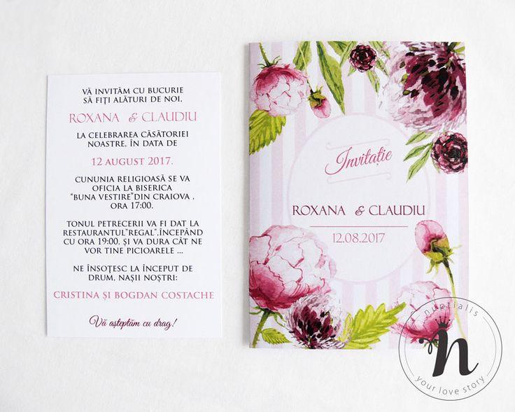 "Invitatii nunta romantice cu bujori roz – ""CARMELLA"""