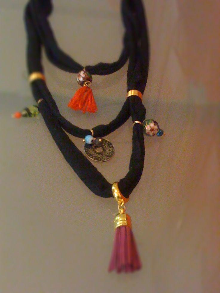 a black t shirt necklace