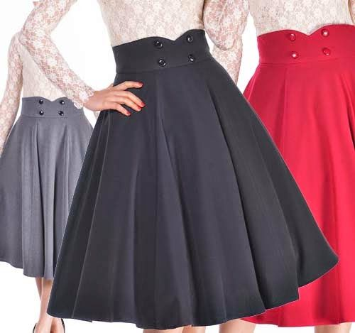 BlueBerryHillFashions: Rockabilly Clothing - HIGH waisted Skirt Swing Skirt by Amber Middaugh
