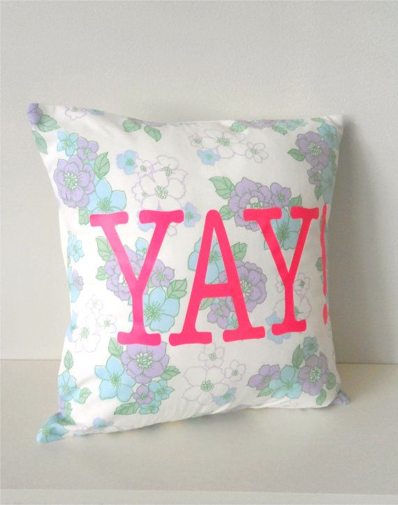 Vintage Fabric with Neon Vinyl YAY hipster Pillow by TheLuckyFox