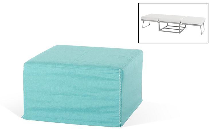 Divani Casa Incognito Modern Turquoise Fabric Ottoman Sofa Bed