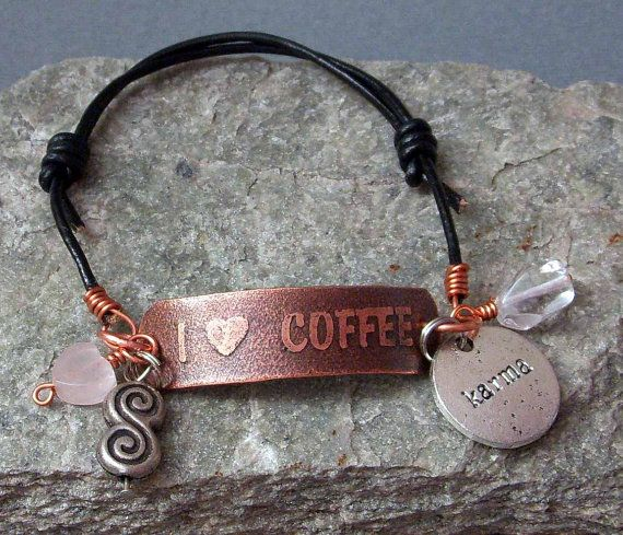 I LOVE COFFEE Hand Etched Copper & Leather by studiovdesigns