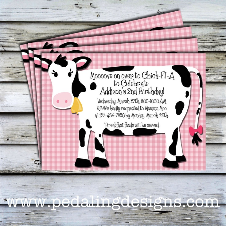 Printable Invitations - Pink Cow Birthday Invitation. $10.00, via Etsy.