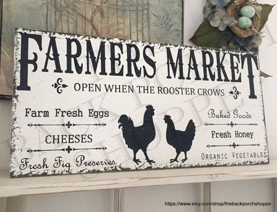 FARMERS MARKET SIGNS | Kitchen Signs | Chicken And Rooster | Fresh Eggs |  Cheese |