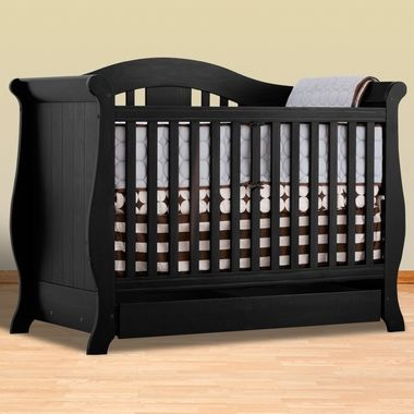 storkcraft black crib convertible to full size bed vittoria collection extra drawer. Black Bedroom Furniture Sets. Home Design Ideas