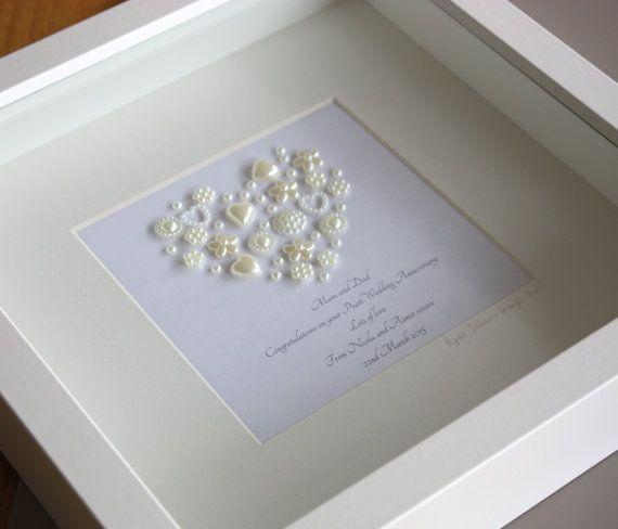 Framed Keepsake Pearl Wedding Anniversary Artwork (Smaller Heart) 30th