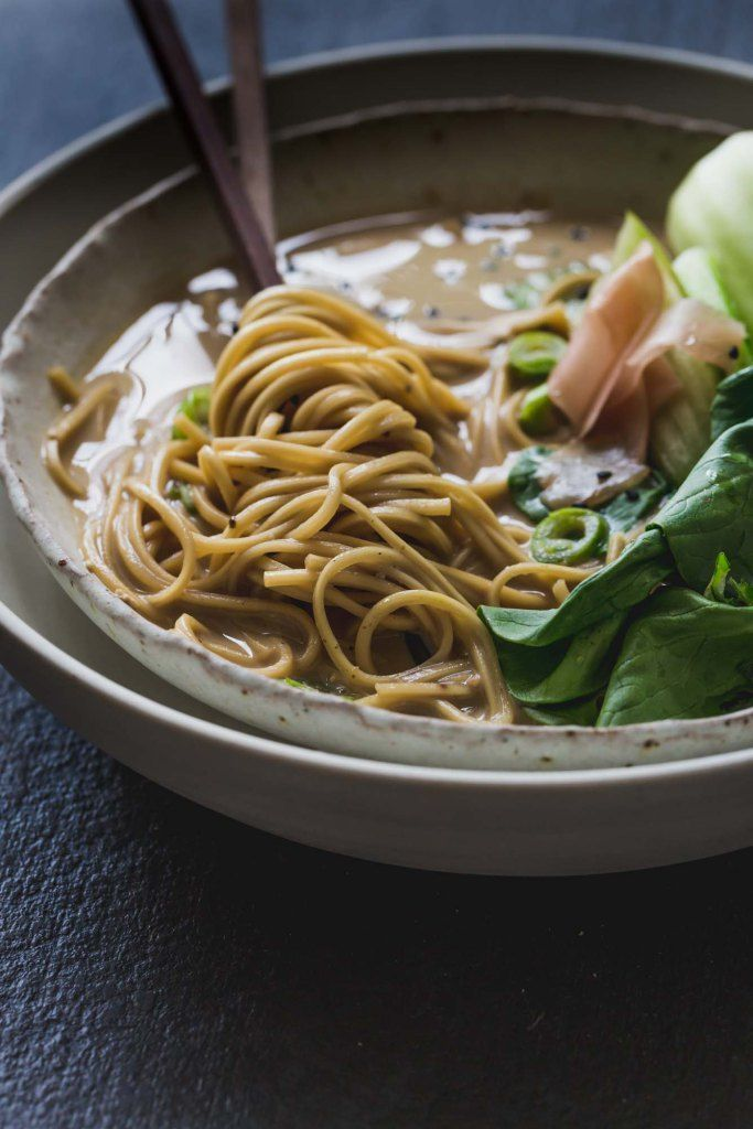 Lip-Smacking Vegan Ramen Noodles This Tonkotsu-style Lip Smacking Vegan Ramen Noodles recipe creates a full-bodied, creamy bowl that's ready in under an hour