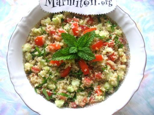 concombre, échalote, quinoa, tomate, huile d'olive, jus de citron, sel, feuille de menthe